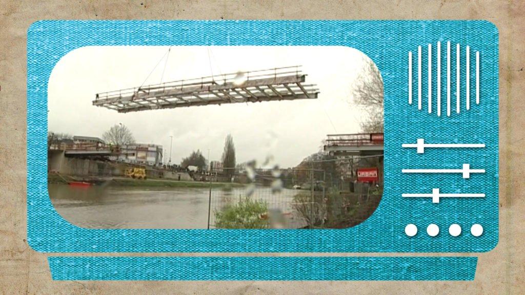 En janvier 2001, la passerelle de Sarreguemines était en construction