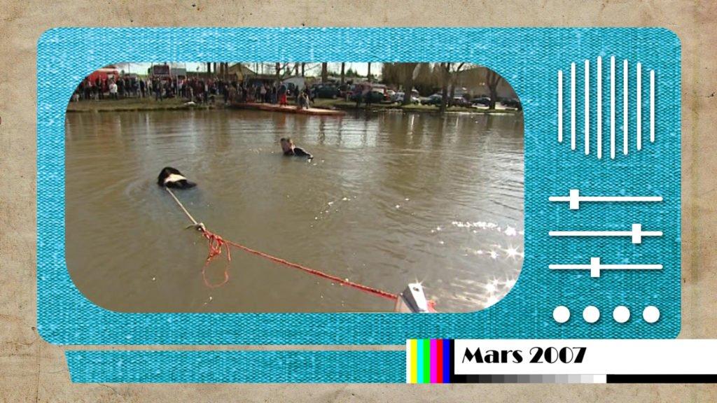 En mars 2007, une formation unique avec des chiens sauveteurs