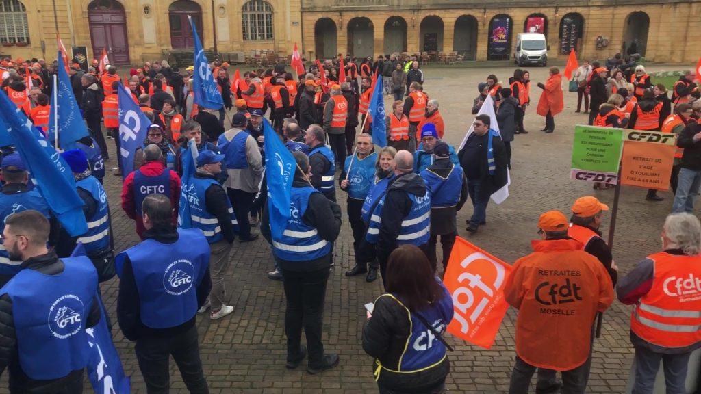 Rassemblement contre la réforme des retraites à Metz